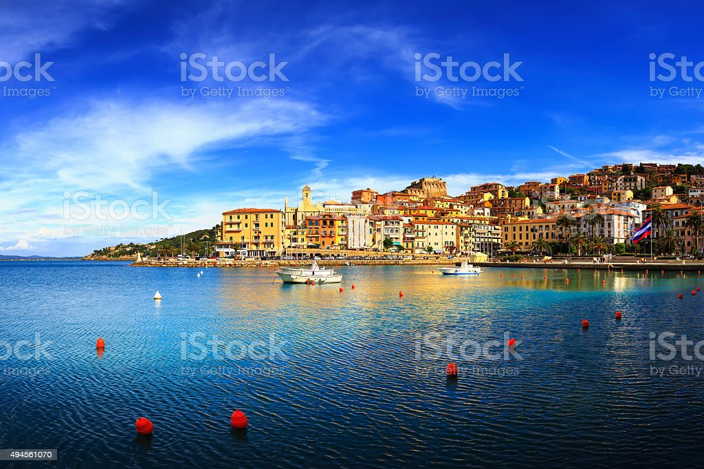 Porto Santo Stefano seafront and village skyline. Argentario, Tu stock photo