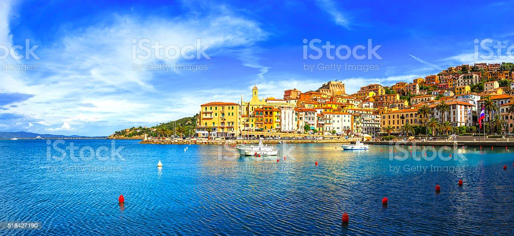 Porto Santo Stefano seafront and village skyline. Argentario, Tu stock photo