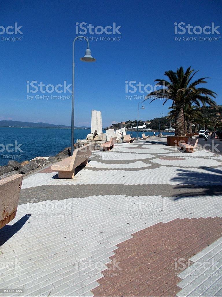 porto santo stefano - street near the sea stock photo