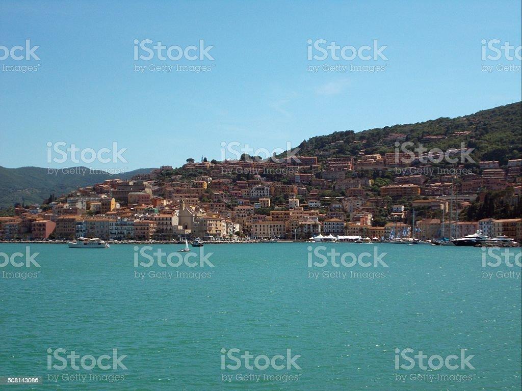 porto santo stefano - view from the sea stock photo