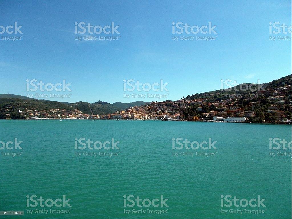porto santo stefano - view of the town stock photo