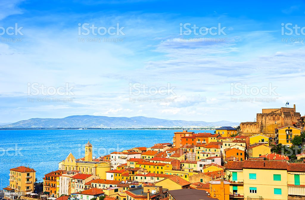 Porto Santo Stefano village, church and castle aerial view. Arge stock photo