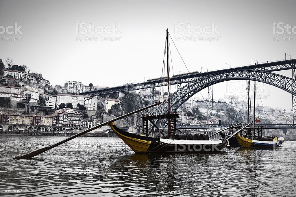 Porto seen from Douro river with its traditional rabelo boats stock photo