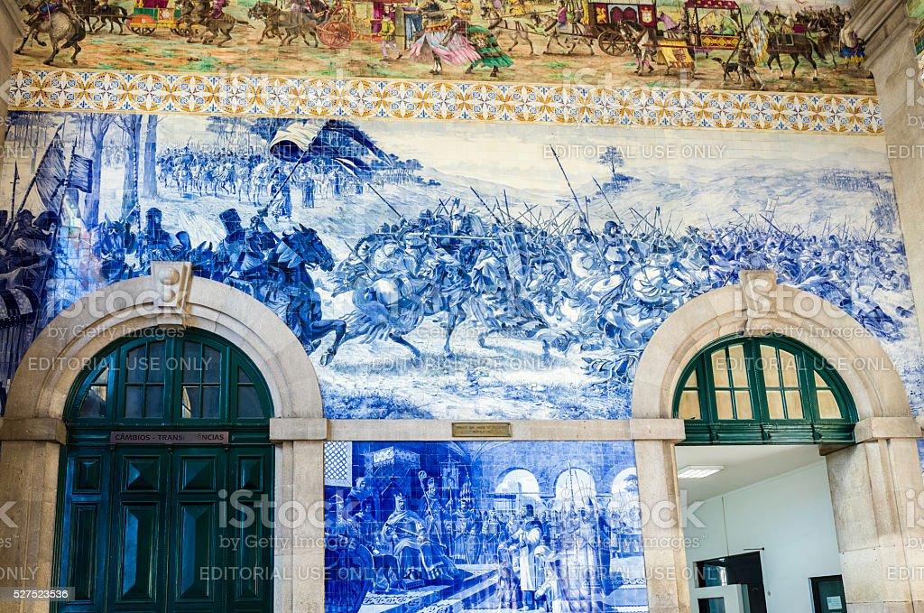 Porto São Bento Railway Station tile murial stock photo