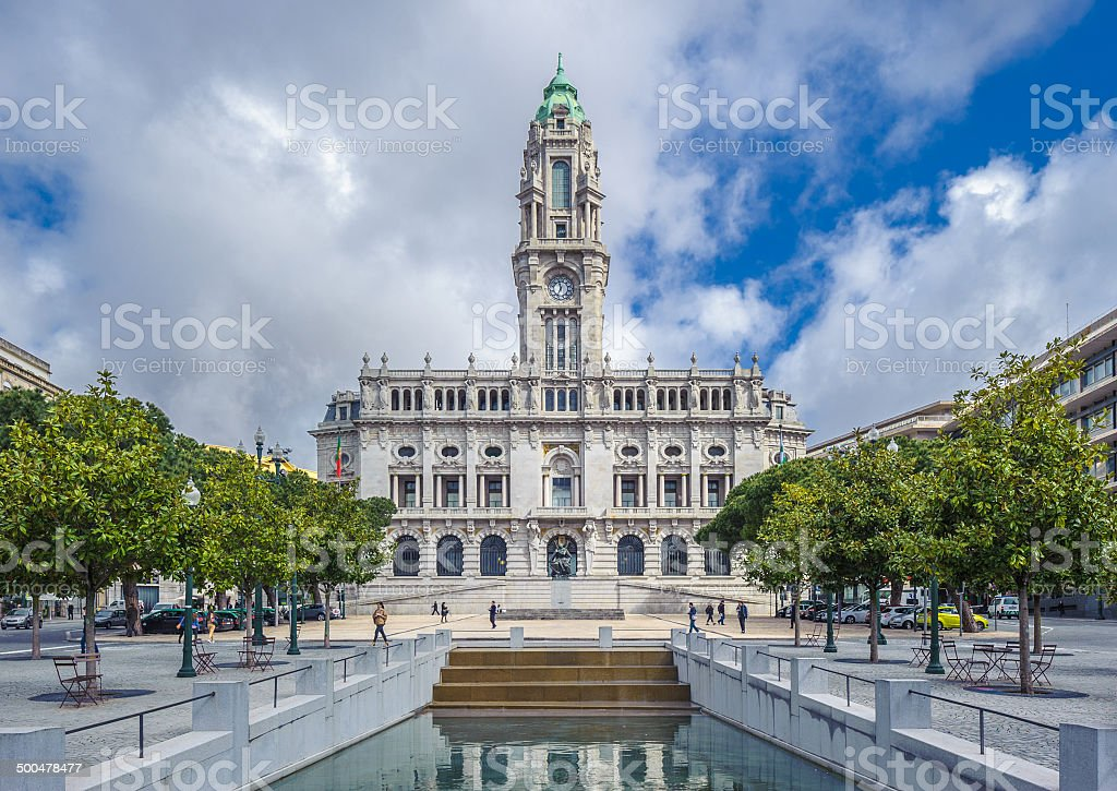 Porto town hall on Avenida Dos Aliados stock photo