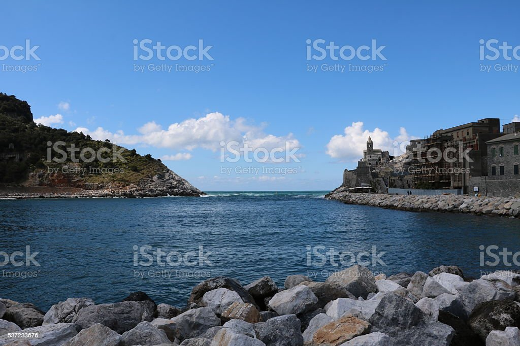 Porto Venere and Palmaria Island, Ligurian Sea Italy stock photo