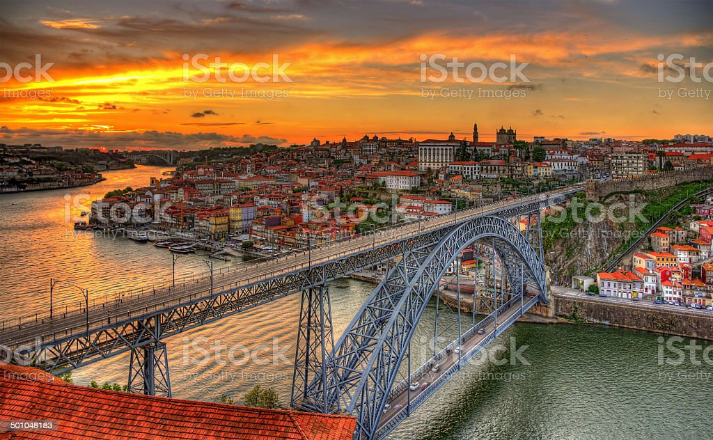 Porto with Dom Luis Bridge - Portugal stock photo
