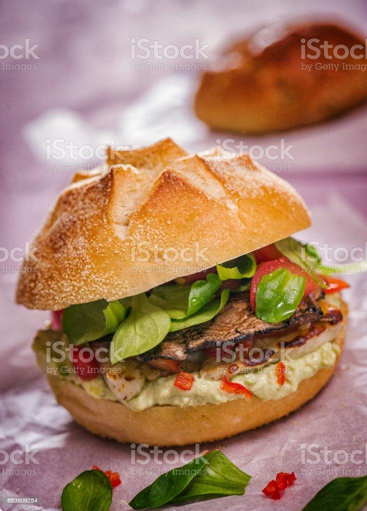 Portobello Mushroom Veggie Burger stock photo