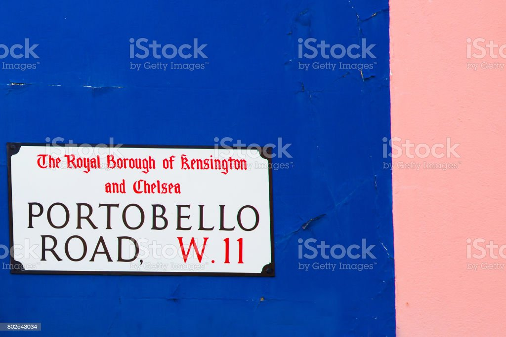 Portobello Road street sign. One of the most famous streets in Nothing Hill, London. stock photo