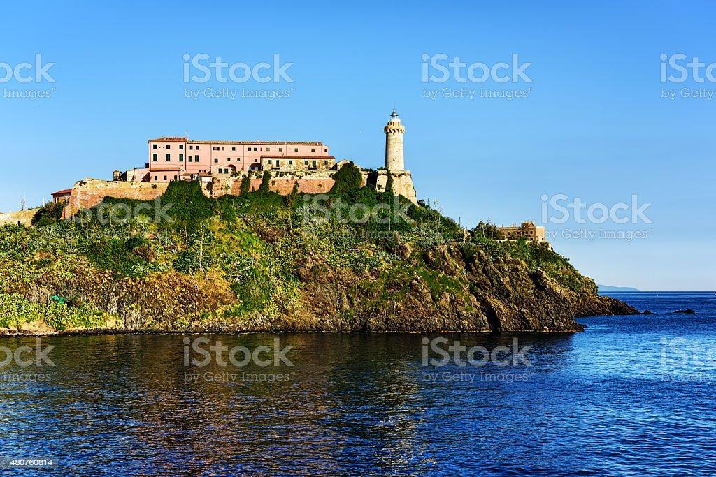 Portoferraio Lighthouse on the  Island of Elba, Italy stock photo