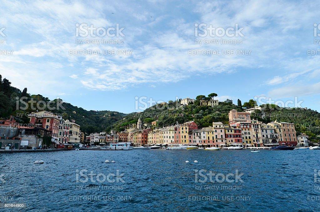 Portofino colorful facades of the houses on the sea stock photo