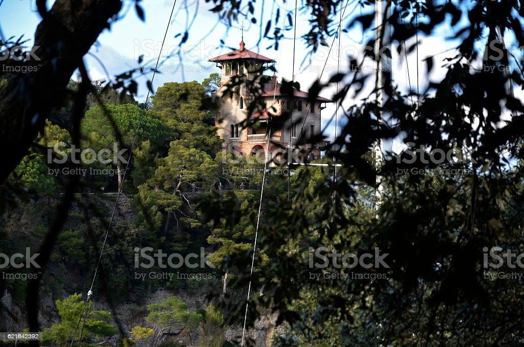 Portofino detail of the palace through the trees stock photo