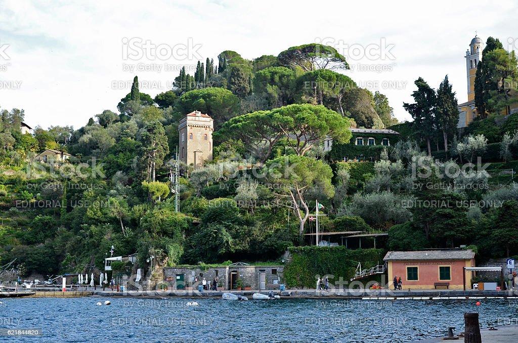 Portofino detail of the yacht club pier stock photo