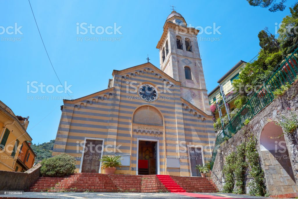 Portofino, Divo Martino romanic church in Italy stock photo