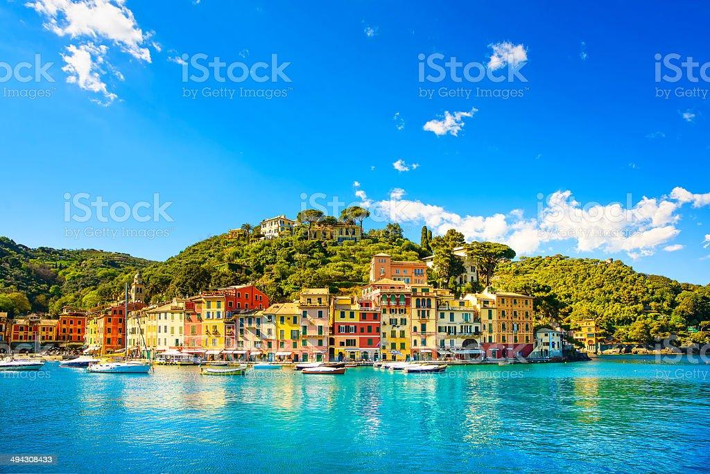 Portofino luxury village landmark, panorama view. Liguria, Italy stock photo
