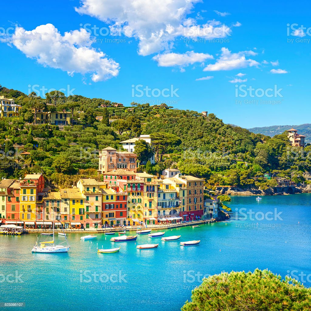 Portofino luxury village landmark, panoramic aerial view. Liguri stock photo