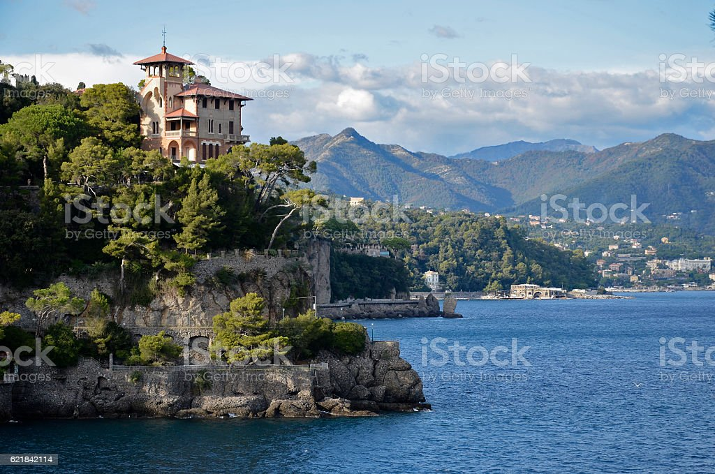 Portofino view of the Gulf of Tigullio Liguria stock photo