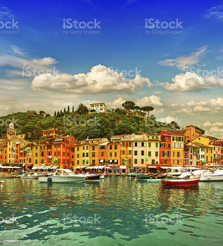 Portofino village on Ligurian coast, mediterranean sea stock photo