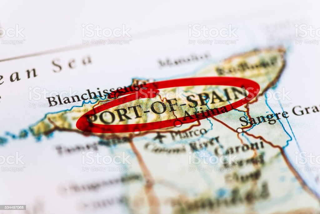 Port-of-Spain Marked on Map stock photo