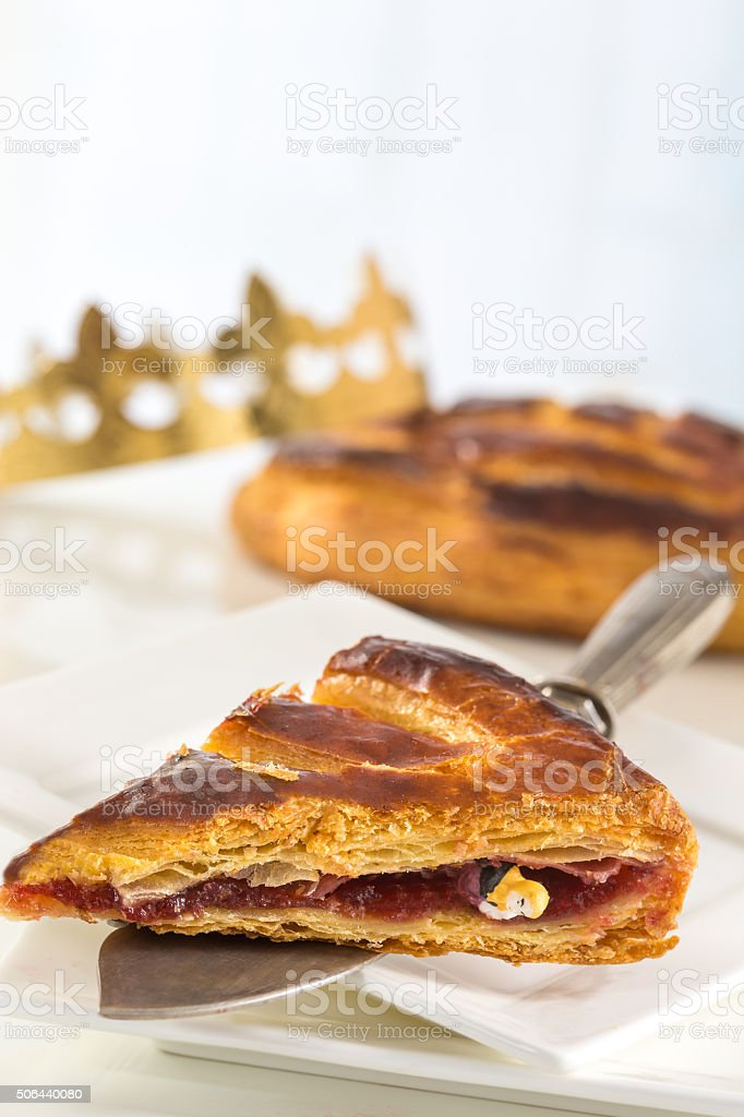 porton of king cake and crown stock photo