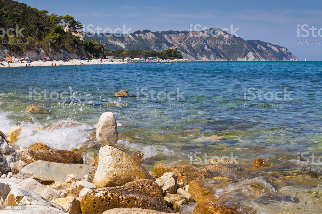 Portonovo beach in Ancona stock photo