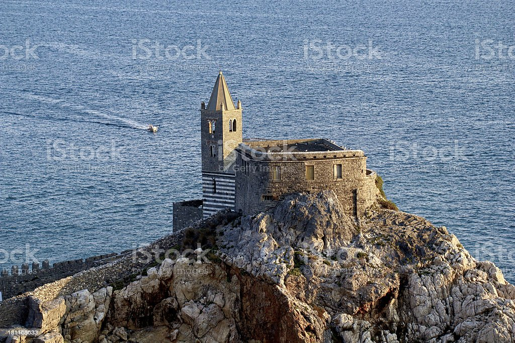 Portovenere, Church of St. Peter from the castle stock photo