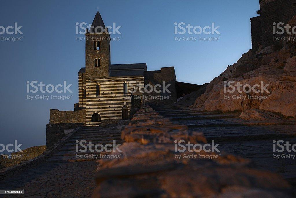 Portovenere, the church of St. Peter stock photo