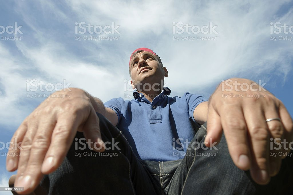 Portrait a Turkish man, wide angle lens. royalty-free stock photo