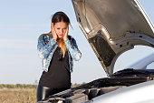 portrait abaout a beautiful woman, car defect