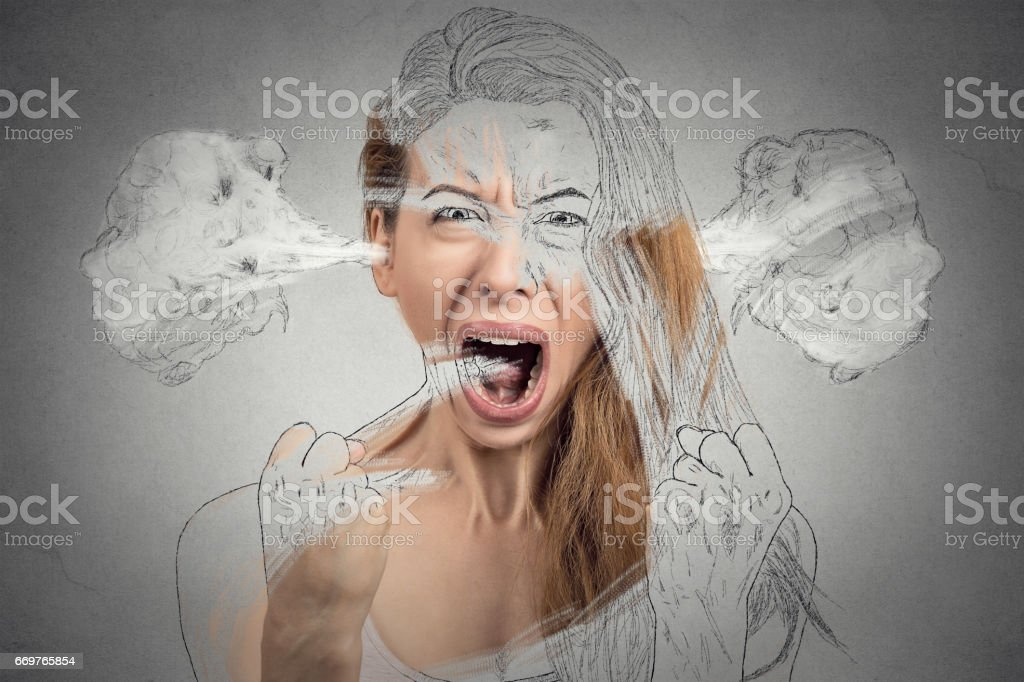 Closeup portrait angry young woman blowing steam coming out of ears...