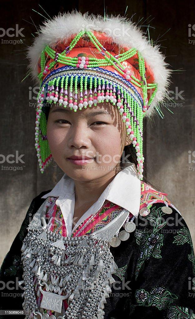 Portrait Asian woman Laos, Hmong stock photo