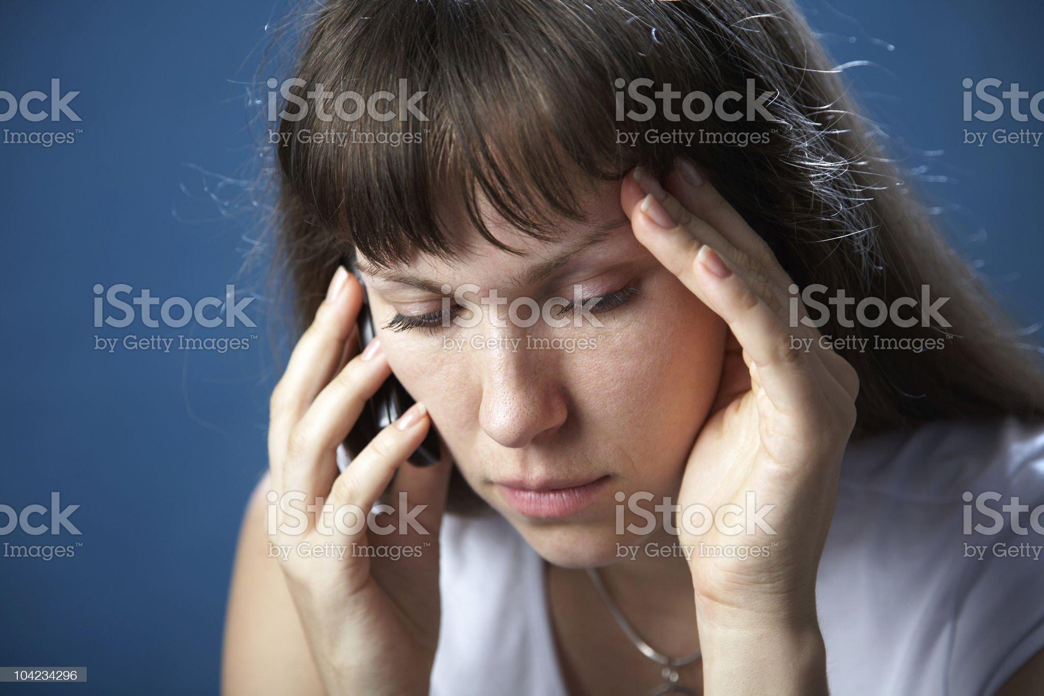 Portrait attractive sad  woman royalty-free stock photo