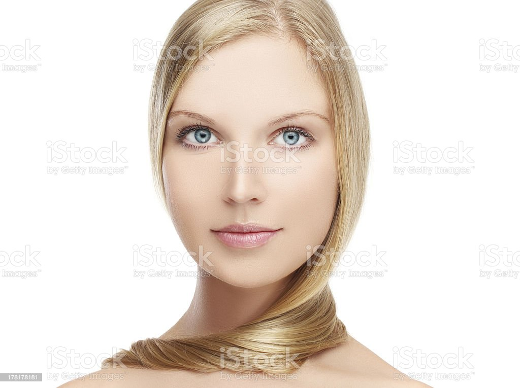 Portrait beautiful girl  looking at camera..White background royalty-free stock photo