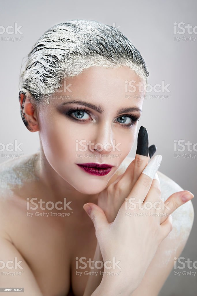 Portrait beautiful girl with creative make-up close-up stock photo