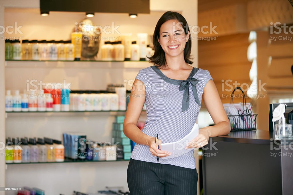 Portrait Beauty Product Shop Manager stock photo