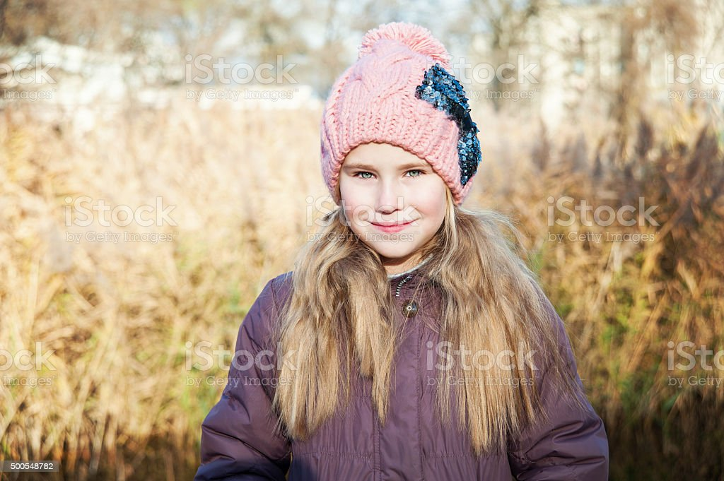 Portrait  blond young girl, autumn, reed background stock photo