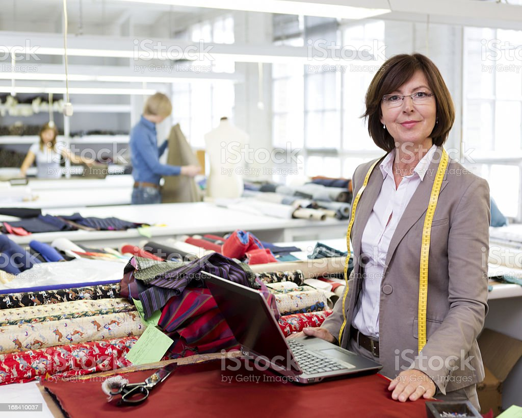 Portrait Business Woman in Fashion Design Factory royalty-free stock photo
