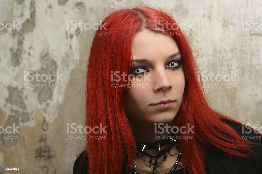 Portrait by wall royalty-free stock photo