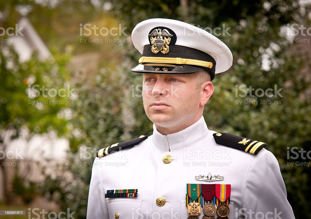 Portrait Caucasian Naval Officer in Winter Whites Uniform Outside stock photo