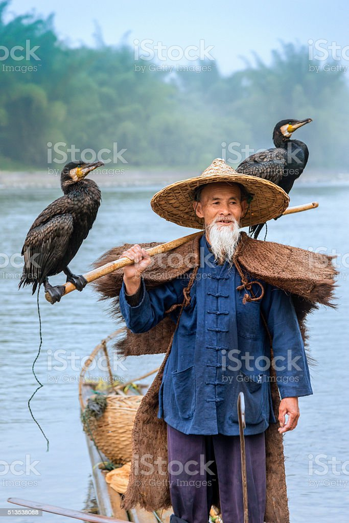 Portrait Chinese traditional fisherman with cormorants fishing, Li River China stock photo
