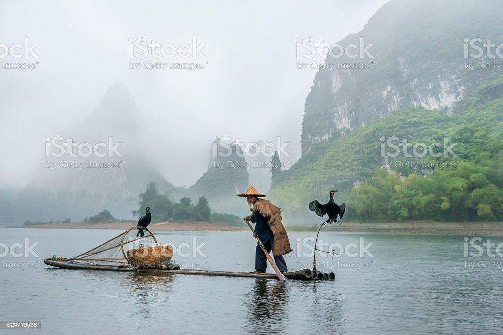 Portrait Chinese traditional fisherman with cormorants fishing, Li River China stock photo