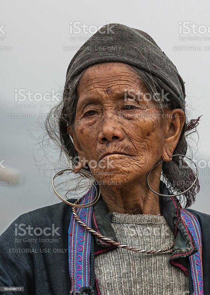 Portrait Close up of Hmong elderly woman. stock photo