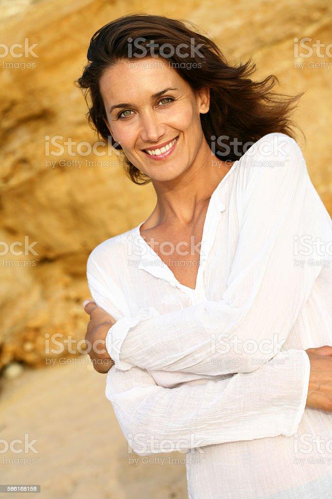 portrait de femme souriante stock photo