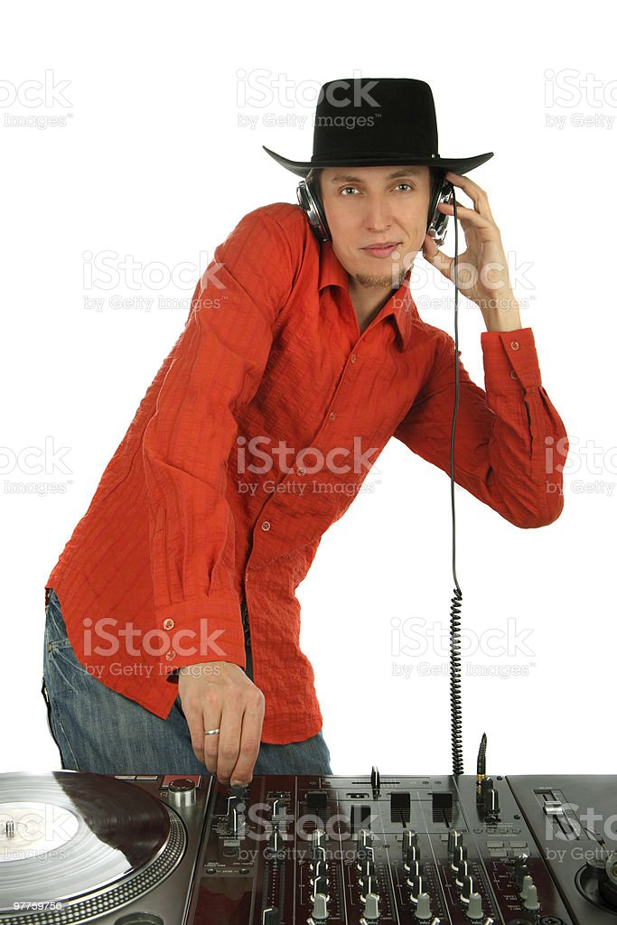 Portrait deejay in a hat and ear-phones royalty-free stock photo