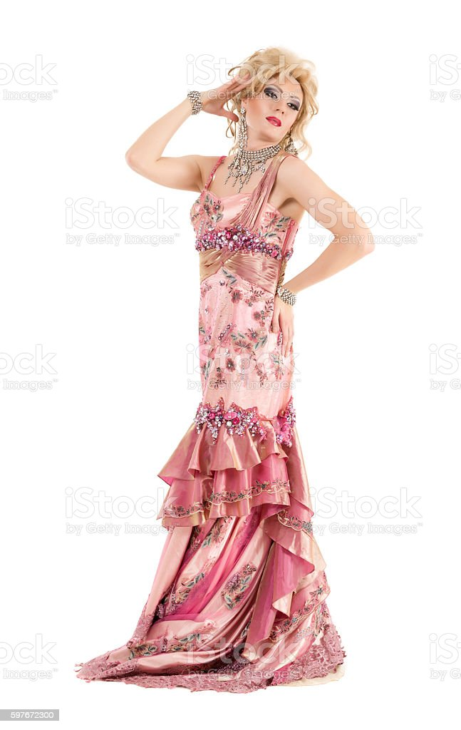 Portrait Drag Queen in Pink Evening Dress Performing stock photo
