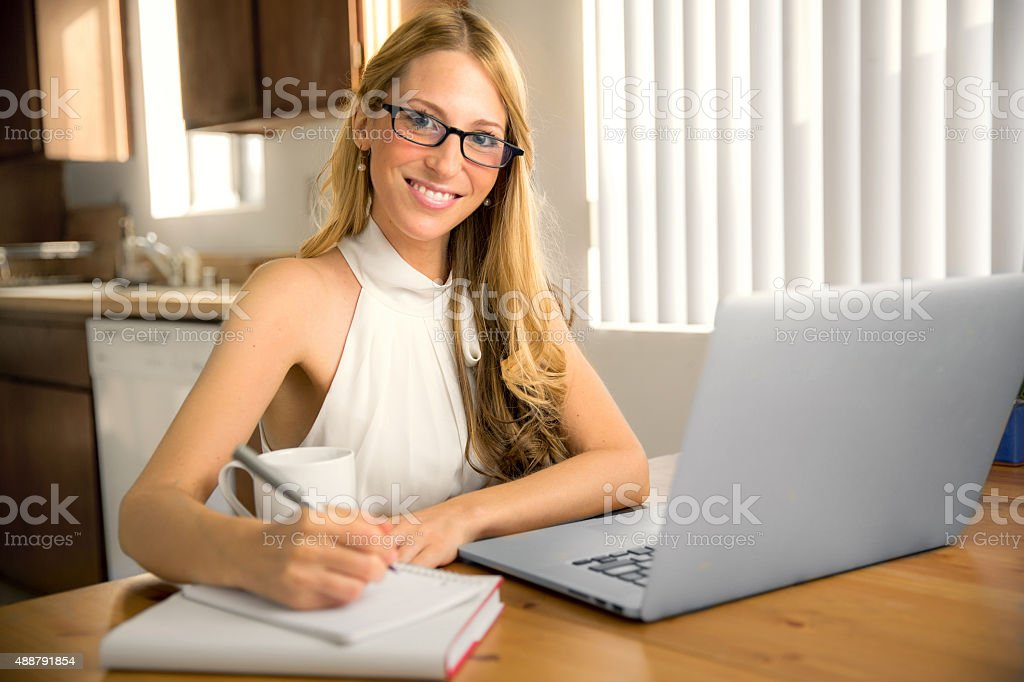 Portrait enthusiastic energetic bright career computer writer financial business modern stock photo