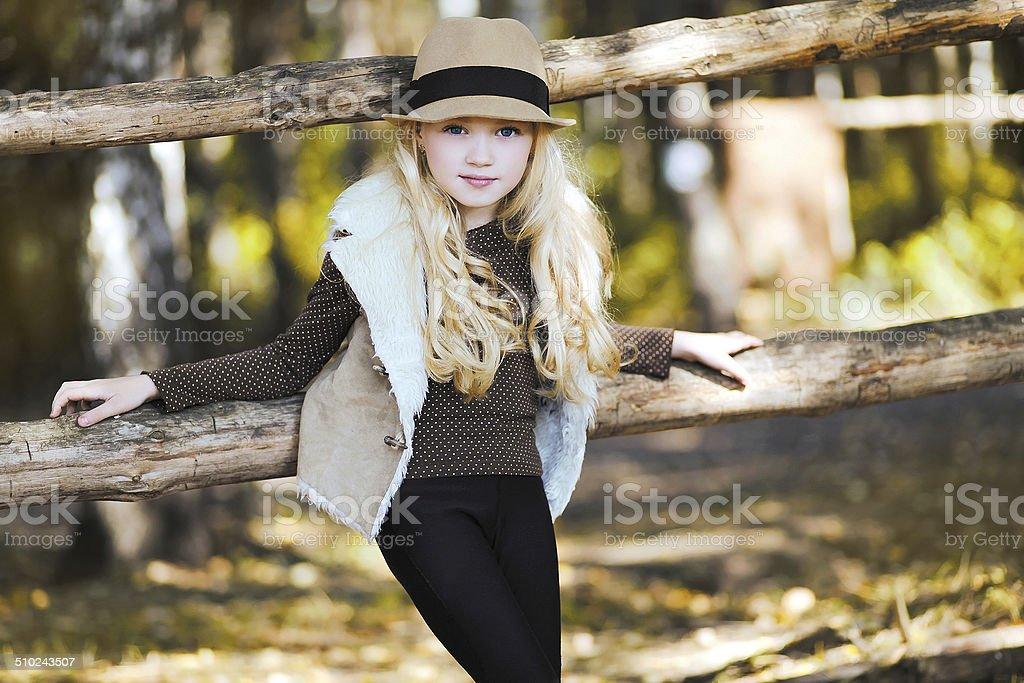 Portrait fashionable teen girl, blonde stock photo