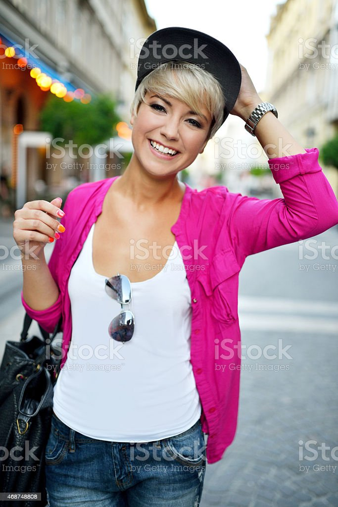 Portrait from a young beautiful woman stock photo