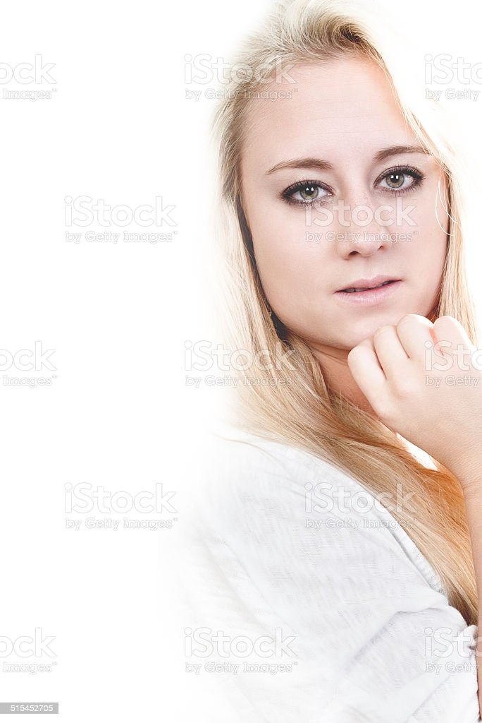 Portrait from young blond Girl stock photo