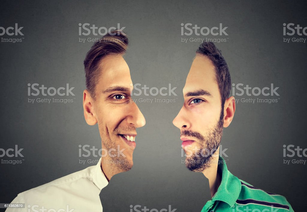 portrait front with cut out profile of two young men stock photo
